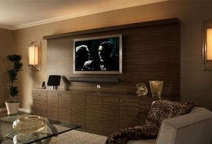 Contemporary Living Room with Crown molding, Wall sconce, Built-in bookshelf, Destiny: slab cabinets, Hardwood floors