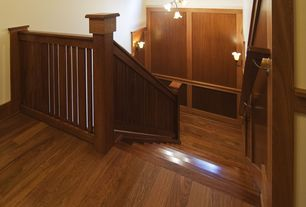 Traditional Staircase with Chandelier, Hardwood floors, High ceiling, Wall sconce