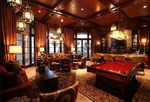 Traditional Game Room with Pendant light, Box ceiling, travertine floors, picture window, can lights, Crown molding