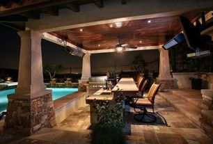 Modern Swimming Pool with Accent landscape lighting, exterior concrete tile floors, Fence, exterior tile floors