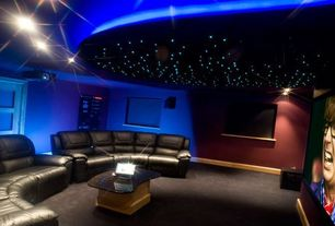 Contemporary Home Theater with Ceiling lighting, French doors, Paint, Yale - palliser leather reclining curved sofa, Carpet