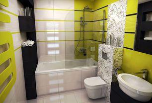 Contemporary Full Bathroom with Complex granite counters, Ms international absolute black granite, interior wallpaper