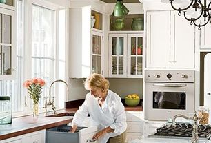 Traditional Kitchen with partial backsplash, Copper counters, Casement, electric cooktop, Flat panel cabinets, One-wall