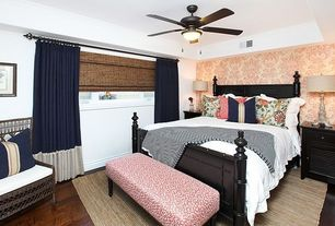 Contemporary Guest Bedroom with flush light, Ceiling fan, Hardwood floors, specialty window, Standard height