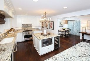 Traditional Kitchen with Custom hood, Simple granite counters, White undermount double basin kitchen sink, Simple Granite