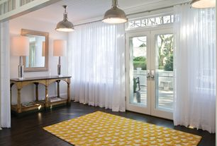 Contemporary Entryway with specialty window, Pendant light, Transom window, Standard height, French doors, Hardwood floors