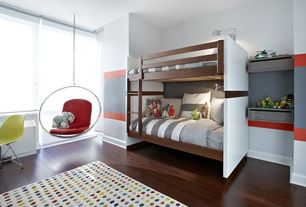 Contemporary Kids Bedroom with Bunk beds, Eames Molded Plastic Wire-Base Side Chair, Built-in bookshelf, Hardwood floors