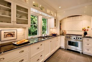 Modern Kitchen with Centaur granite countertops black galaxy / counter top blank with eased edge, Hammersmith subway tile