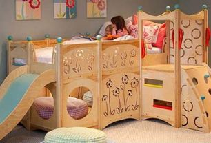 Modern Kids Bedroom with Paint, Carpet, Cedar works raphsody playbed
