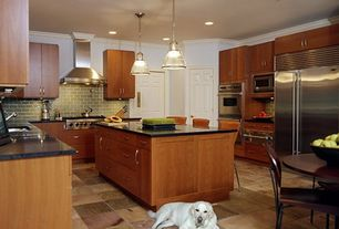 Modern Kitchen with Fireclay Tile Peabody Field Tile, MS International  Black Antique Granite