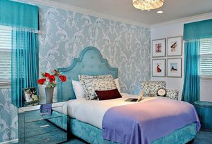 Contemporary Kids Bedroom with Skyline Furniture Arch Nail Button Bed In Velvet Caribbean Teal