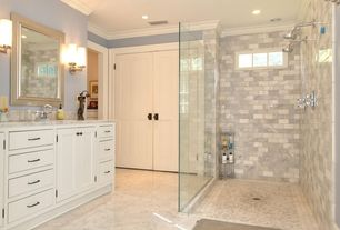 Contemporary Master Bathroom with MS International - Bianco Venatino Marble Tile, Crown molding, Concrete floors, Wall sconce