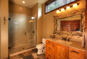 Rustic 3/4 Bathroom with Flat panel cabinets, High window, Undermount sink, Oversize metal branches rectangular wall mirror