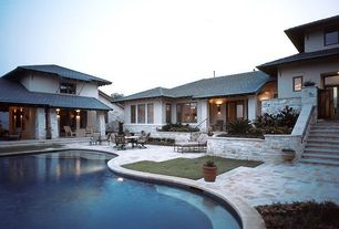 Traditional Patio with Gate, French doors, exterior stone floors, Raised beds