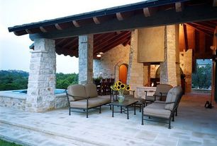 Contemporary Patio with Exposed beam, exterior concrete tile floors, Stacked stone column, Other Pool Type, Stone steps