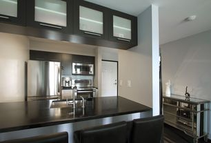 Contemporary Kitchen with Stainless Steel, Safavieh seth bar stool, Breakfast bar, Dupont corian deep nocturne, Paint 1