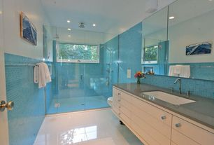 Contemporary 3/4 Bathroom with Quartz counters, Epoxy white floor, frameless showerdoor, Dupont - corian dove