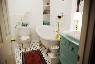 Traditional Full Bathroom with Clawfoot, Octagon white tile with black dot, specialty door, Polished brass tub filler