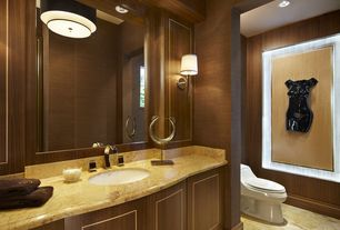 Contemporary Master Bathroom with DVI Milan 1 Light Wall Sconce, York Wallcoverings Modern Rustic Stripes Wallpaper