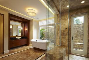 Contemporary Master Bathroom with Springfield Linen Shade Ceiling Light, Custom Frameless Shower