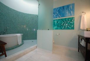 Modern Master Bathroom with Master bathroom, Wood counters, Teal for two glass mosaic tile by nerino, Freestanding
