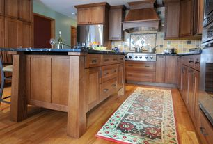 Traditional Kitchen with Large Ceramic Tile, Breakfast bar, Flat panel cabinets, Kitchen island, Complex granite counters