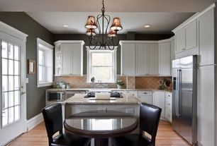 Traditional Kitchen with Flat panel cabinets, Stone Tile, Glass panel door, Oak - natural 2 1/4 in. solid hardwood strip