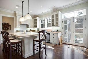 Cottage Kitchen with Pottery barn napoleon barstool, Ms international elegant white marble