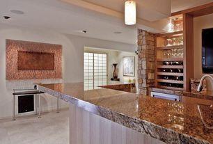 Modern Bar with Built-in bookshelf, Standard height, can lights, Pendant light, Concrete tile