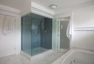 Contemporary Master Bathroom with Cararra marble, frameless showerdoor, flush light, French doors, specialty door, Jetted