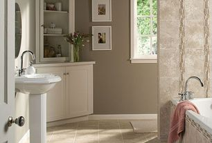 Traditional Full Bathroom with Standard height, Bathtub, Arizona tile kensington beige, Inset cabinets, Master bathroom