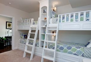 Traditional Kids Bedroom with Carpet, Built-in bookshelf, Built in bunk beds