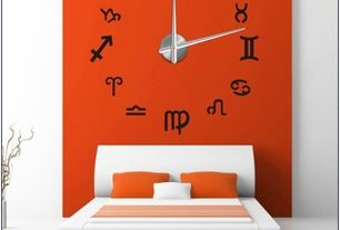 Contemporary Master Bedroom with Wall decal