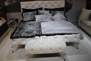 Modern Master Bedroom with Faux leather crystal tufted chrome legs bench ottoman, Sylvia modern queen-size platform bed