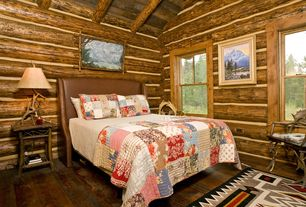 Rustic Guest Bedroom with Vaulted wood ceiling, no bedroom feature, Exposed beam, double-hung window, Standard height