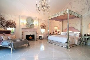 Art Deco Master Bedroom with The Mirrored Bed Company- 'REINA' MIRRORED FOUR POSTER CANOPY BED
