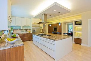 Contemporary Kitchen with double wall oven, U-shaped, Large Ceramic Tile, Pendant light, Island Hood, Simple granite counters