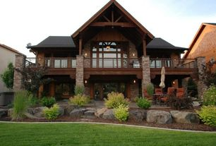 Rustic Exterior of Home with Pathway, Deck Railing, picture window