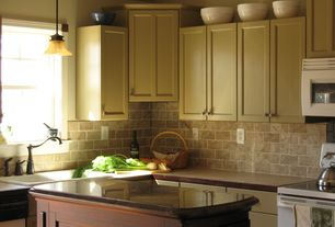 Traditional Kitchen with Kitchen island, Travertine subway tile, L-shaped, Flat panel cabinets, Limestone Tile, Wood counters