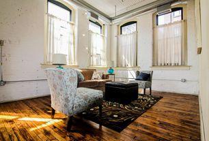 Traditional Living Room with Cosmopolitan Rectangular Faux Leather Storage Ottoman, interior brick, Hardwood floors