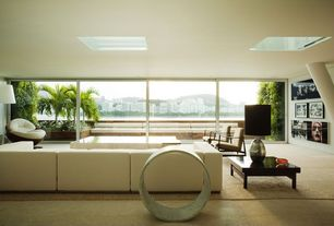Contemporary Living Room with Paint 1, Skylight, Standard height, picture window, Columns, limestone floors