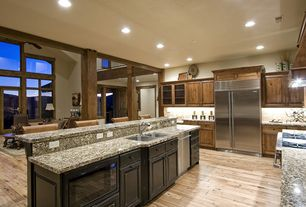Traditional Kitchen with MS International Caledonia Granite, Stainless undermount 2-basin sink