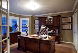 Traditional Home Office with Crown molding, Standard height, Casement, flush light, Carpet, French doors