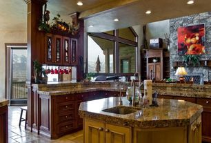 Mediterranean Kitchen with Kitchen island, Msi granite countertops in brownie, High ceiling, Simple granite counters