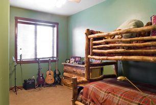 """Rustic Kids Bedroom with Ceiling fan, Carpet, Cabela's - Aspen Log 54"""" 6-Drawer Dresser, Chandelier, Bunk beds"""