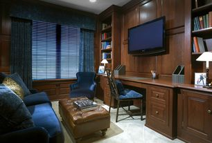 Traditional Home Office with Crown molding, Built-in bookshelf, picture window, Carpet, Standard height, can lights