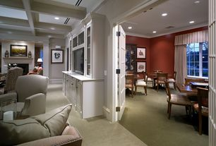 Traditional Living Room with Carpet, Crown molding, Box ceiling, Glass panel door, Built-in bookshelf
