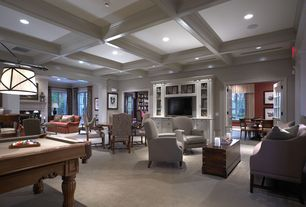 Traditional Living Room with Built-in bookshelf, French doors, Carpet, High ceiling, Box ceiling