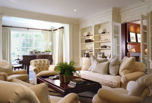 Contemporary Living Room with Built-in bookshelf, Carpet, Crown molding, French doors