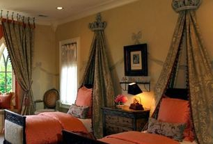 Traditional Guest Bedroom with Austin Horn Serafina Terracotta and Tan Duvet Bedding, interior wallpaper